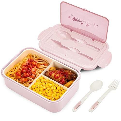 BIBURY Fiambrera, caja bento a prueba de fugas para niños adultos, recipiente para alimentos con 3 compartimentos y juego de cubiertos, lonchera comidas aptos para microondas y lavavajillas (Rosado B)