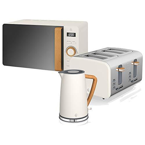 Swan Nordic Set Desayuno Hervidor de agua 1,7L 2200W, Tostadora Pan ranura ancha 4 rebanadas,Microondas 20L digital, diseño moderno, efecto madera, blanco algodón
