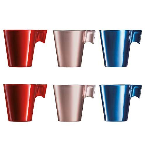 Luminarc Flashy Set 6 Tazas Desayuno Mugs café con asa de Vidrio para microondas 22cl, Rosado