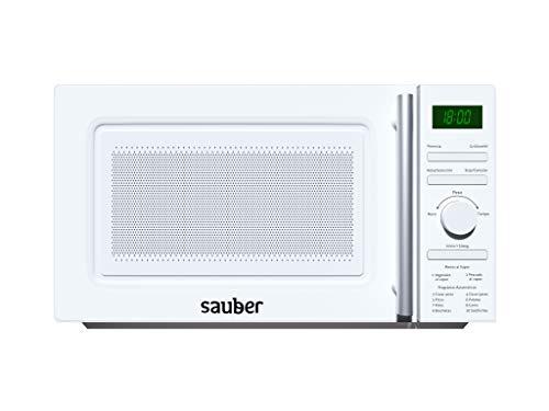 Sauber - Microondas AL VAPOR - Con GRILL - SERIE 3-21WG - 20 litros - Color Blanco. COCINA AL VAPOR