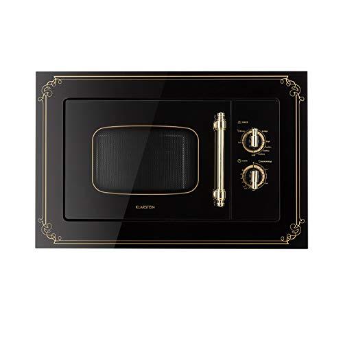 Klarstein Victoria 20 - Microondas, Diseño retro, 20 litros, Microondas de 800 W/Función grill de 1000 W, 3 funciones predeterminadas, Acero inoxidable, Incluye marco para montaje, Negro