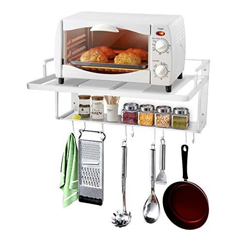 Doble capa de aluminio Espacio para colgar Horno microondas Rack Stand Estante de la cocina Organizador Soporte para horno microondas Soporte para horno microondas Estante para horno