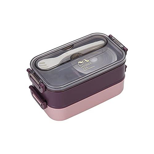 THappy Fiambrera portátil de doble capa de acero inoxidable, lonchera portátil, caja de almuerzo de microondas, lonchera sellada de gran capacidad para estudiantes, con tazón de sopa