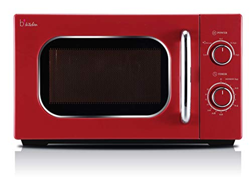 BKITCHEN Cook 820 - Microondas Retro, 5 Niveles de Potencia, Temporizador de 35 Minutos, Color Rojo, 700 W
