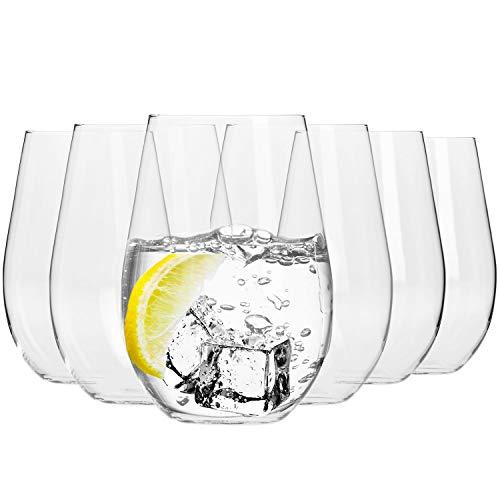 Krosno Copas de Vino Tinto sin Tallo   580 ML   Harmony Collection   Vasos de Agua Jugo Highball Uso en Casa, Restaurante y en Fiestas   Apto para Microondas y Lavavajillas