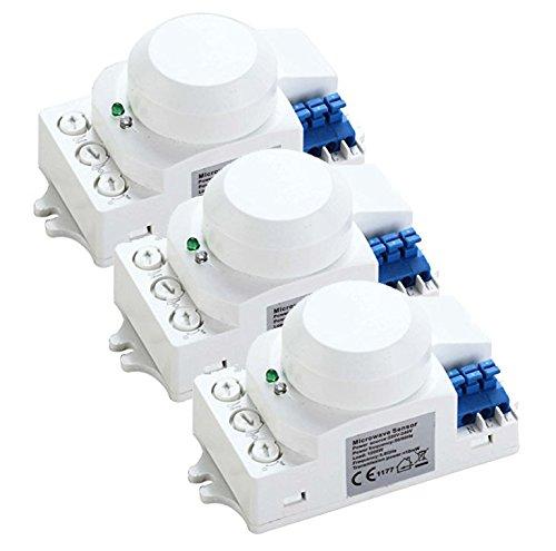 ZEYUN Detector de Sensor de Movimiento de microondas HF, Sensor de Radar de detección de Movimiento Inteligente, ángulo de detección de 360 ° Distancia de detección 10M, Paquete de 3