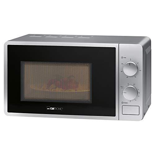 Clatronic Microondas MWG 792 con grill/700 W microondas + 800 W de potencia de grill/temporizador de 30 minutos con señal final/iluminación de cocción/plateado