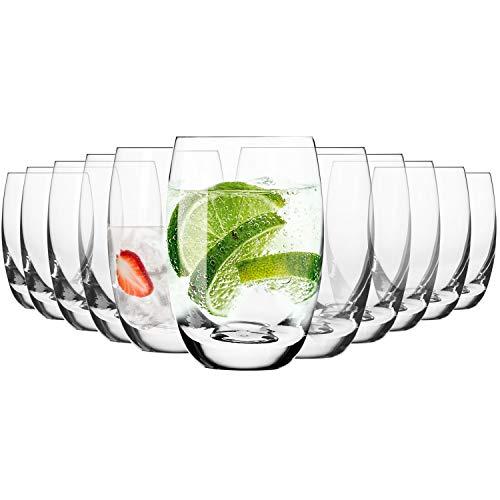Krosno Vasos de Agua Highball   Set 12 Piezas   360 ML   Elite Collection Uso en Casa, Restaurante y en Fiestas   Apto para Microondas y Lavavajillas