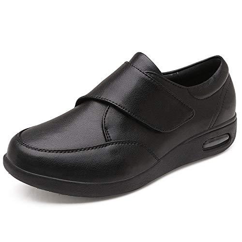 B/H Sandalias Mujer Hombre Zapatillas De Estar,Calzado de Cuero para Hombres, Zapatos para Hombres de Mediana Edad y Ancianos con Hebilla mágica-Black_39