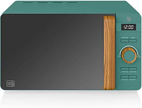 Swan Nordic Microondas digital 20L, 6 niveles funcionamiento, 800W potencia, temporizador 30 min, fácil limpieza, modo descongelar, diseño moderno, tirador efecto madera, verde mate