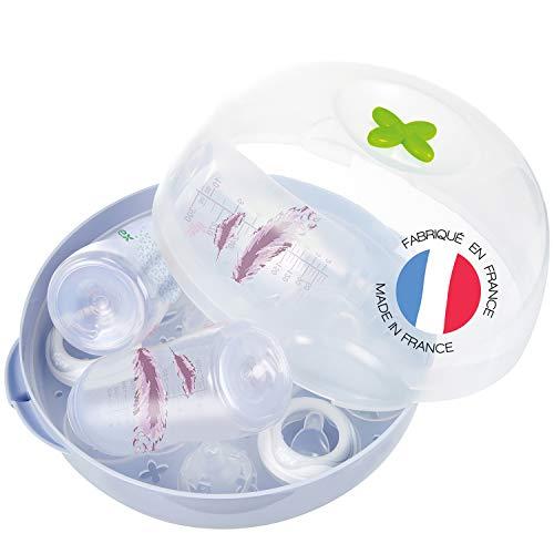 Tigex Esterilizador biberones microondas | Gran capacidad: 5 botellas | Esteriliza las botellas de bebé en 4 minutos
