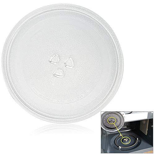 PERFETSELL Plato Microondas Universal 245 mm de Diámetro Plato Giratorio Microondas Plato de Vidrio Plato Giratorio de Cristal para el Horno Microondas con 3 Fijadores, 245 mm