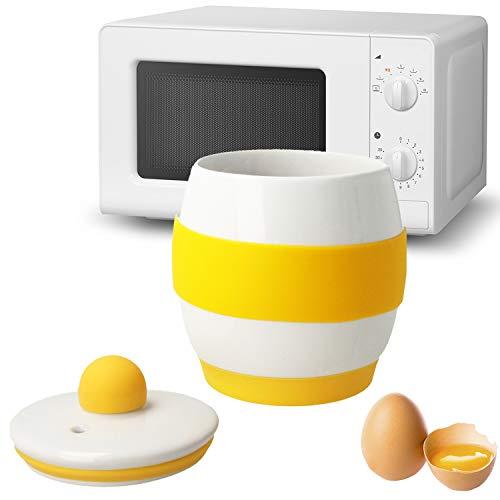 MovilCom® - Cuece Huevos microondas cerámica | Egg Poacher | Estuche Vapor Huevos microondas | Blanco