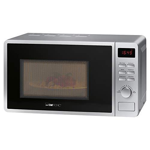 Clatronic MWG 793/ - Microondas 2 en 1 con grill, 700 W, 800 W, grill de 20 litros, incluye programa Express, 5 niveles de potencia combinados, iluminación para el horno, color blanco plata