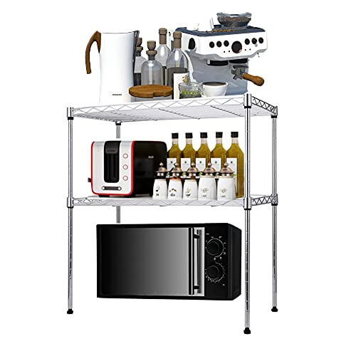 Ysislybin Estantería para microondas, estante ajustable con 4 ganchos para cocina, soporte para microondas especias, acero al carbono, organizador de cocina, 50 x 30 x 50 cm