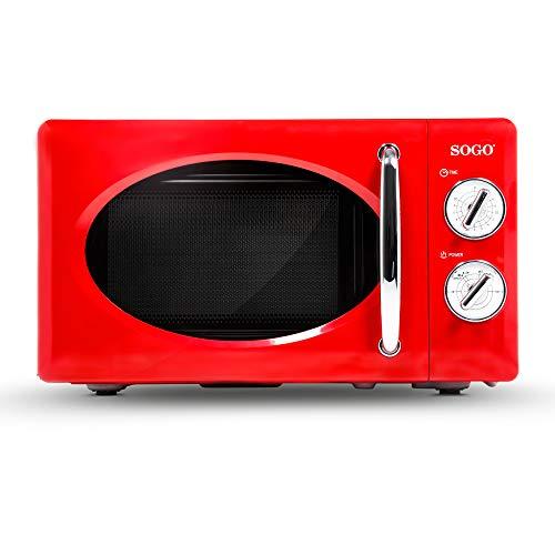 SOGO HOR-SS-890-R SS-890-R - Microondas Estilo Retro, Microondas Vintage con Capacidad de 20 Litros, 5 Potencias, 700 Watts - Color Rojo, Talla única