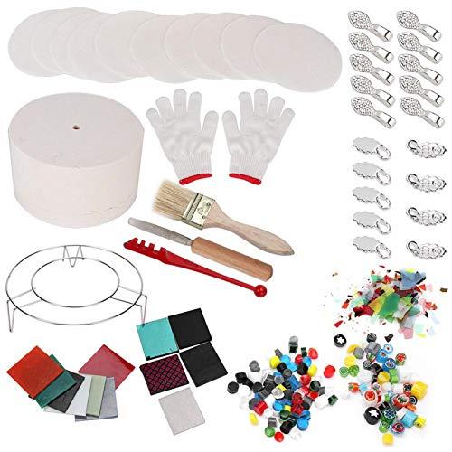 Hornos de vidrio, conjunto de horno de microondas, artesanías de fibra de cerámica para artesanías de fusión de vidrio Hogar de ablandamiento de(14-piece small kiln)