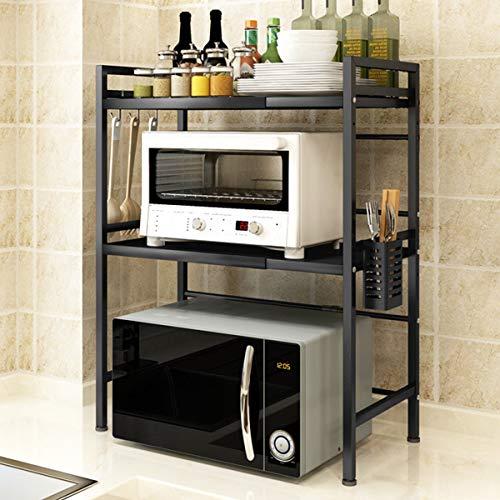 Mocosy Parrilla Extensible para Horno microondas, encimera de Cocina de 2 Niveles con 3 Ganchos, Estante de Acero al Carbono, Capacidad de Peso de 55 Libras, Negro (2 Niveles)