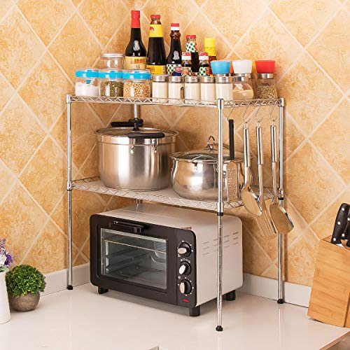 LC&Team Estante de Cocina estantería de Metal microondas Cocina hogar 2 Niveles Ajustable con 4 Ganchos