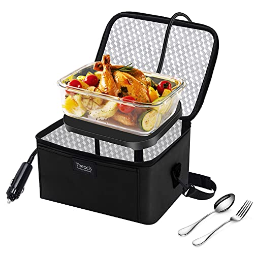 Calentador de alimentos portátil para coche, Fiambreras de 12V para adultos, Mini horno microondas portátil para comidas y alimentos crudos Viaje por carretera/Picnic/Camping/Picnic/Reunión familiar
