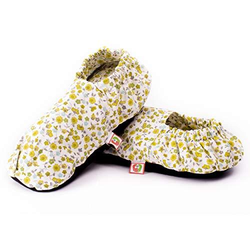Zapatillas Térmicas de Semillas - Pantuflas Calientapiés Calentar en Microondas (Talla Única) - Bolsa de Calor para Pies Fríos con Funda Lavable, Tela de Algodón 100% y Olor a Lavanda (Flores)