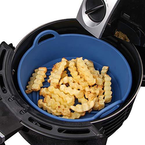 Webake Cesta de accesorios para freidora de aire, de silicona, 20,5 cm de repuesto para revestimientos de papel, se adapta a freidoras de aire de 4 litros o más grandes