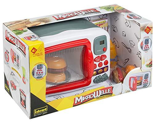 Idena 40450 - Microondas de la serie doméstica con 7 funciones básicas, amplios accesorios, efectos de luz y sonido,17 x 39,5 x 22 cm, para niños, para aprender habilidades prácticas en la cocina