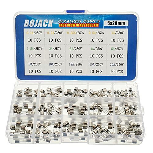 BOJACK 15 Valores Surtido de fusibles de vidrio con conector rápido 150pcs 5x20mm 250V 0.1 0.2 0.25 0.5 1 1.5 2 3 4 5 8 10 12 15 20A Embalaje en caja de plástico transparente