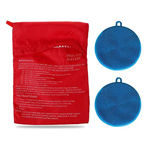 Kit de bolsa de patatas para microondas, con 2 cepillos de silicona para fregar verduras, bolsa reutilizable para patatas horneadas y esponja multiusos de silicona para platos (azul)