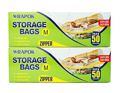 wrapok alimentos almacenamiento bolsas de almacenamiento con cremallera bolsas congelador. Se puede usar en microondas. 50Count, plástico, mediano