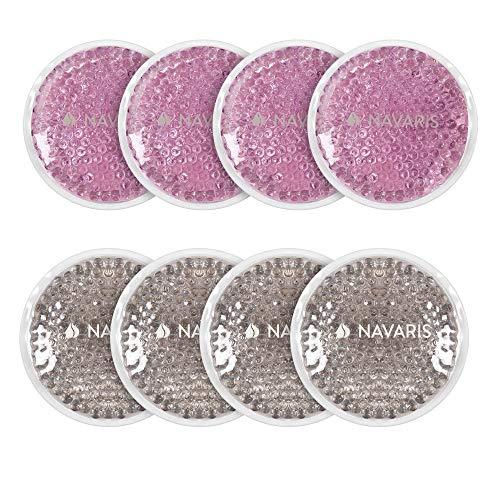 Navaris 8x Compresa de gel frío calor - Set de almohadillas para calentar en microondas y enfriar en congelador - Bolsas reutilizables - Rosa y gris