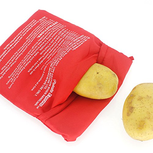 ONEVER Microondas reutilizable patata Cocina de la patata bolsa Olla Roja Microondas Olla de patatas Patatas bolso perfecto en solo 4 minutos