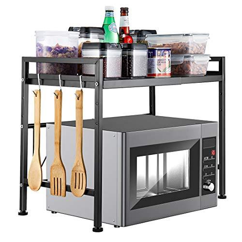 i BKGOO Rejilla Para Horno Microondas Extensible de Metal Negro Tipo H Suministros de Cocina Mostrador de Almacenamiento de Vajilla Soporte de Acero al Carbono Para 2 Niveles con 3 Ganchos