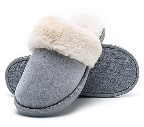 Mujer Invierno Fur Zapatillas de Estar Cerradas Calienta Pantuflas, para Interior o Exterior Azul 36.5-38